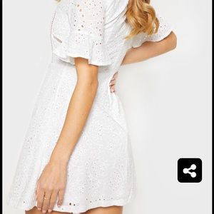 PrettyLittleThing White Broderie Skater Dress